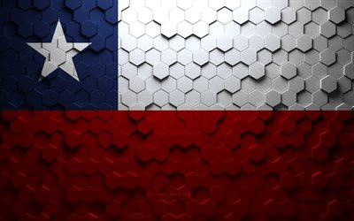 Flag of Chile, honeycomb art, Chile hexagons flag, Chile, 3d hexagons art, Chile flag