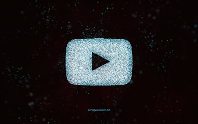 YouTube glitter logo, black background, YouTube logo, blue glitter art, YouTube, creative art, YouTube blue glitter logo