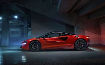 2022, McLaren Artura, side view, exterior, orange sports coupe, supercar, new orange Artura, British sports cars, McLaren