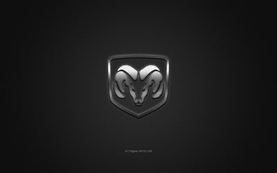Dodge logo, silver logo, gray carbon fiber background, Dodge metal emblem, Dodge, cars brands, creative art