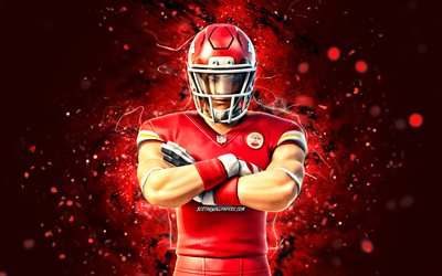 Kansas City Chiefs, 4k, red neon lights, Fortnite Battle Royale, Fortnite characters, Kansas City Chiefs Skin, Fortnite, Kansas City Chiefs Fortnite