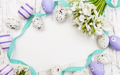 Easter, purple Easter eggs, spring, Easter frame, spring white flowers, Easter greeting card template