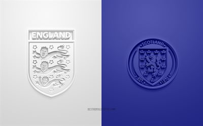 England vs Scotland, UEFA Euro 2020, Group D, 3D logos, blue white background, Euro 2020, football match, England national football team, Scotland national football team
