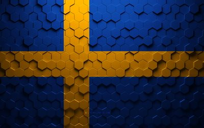 Flag of Sweden, honeycomb art, Sweden hexagons flag, Sweden, 3d hexagons art, Sweden flag