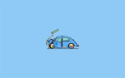 car crash, creative, minimal, blue background