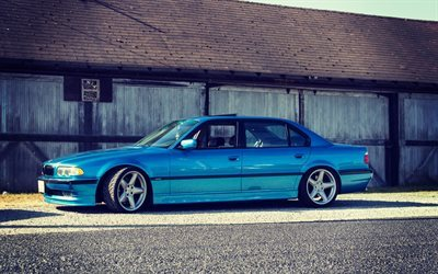 BMW 7-series, tuning, 750il, bmw e38, BBS, stance, blue BMW