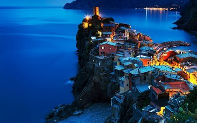 Cinque Terre, sunset, sea, Italy, Vernazza, mountains