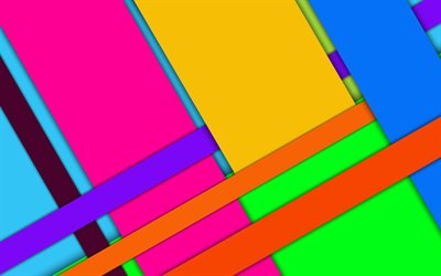multicolored abstraction, material design, geometric background, android, shapes, lines, bright colors