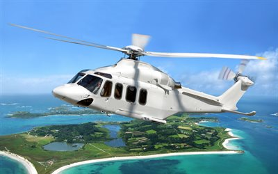 AgustaWestland AW139, 4k, white helicopter, civil aviation, artwork, passenger helicopters, AW139, AgustaWestland