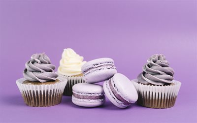 purple macaroon, pastry, sweets, cookies, cupcakes, purple cream