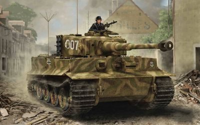 Tiger I, German battle tank, WWII, armored vehicles, World war II, Wehrmacht, art, drawing