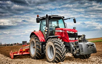 Massey Ferguson 6718 S, plowing field, HDR, 2021 tractors, agricultural machinery, red tractor, agriculture, Massey Ferguson