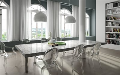 living room, stylish interior design, gray marble table, marble dining table, transparent plastic chairs, modern interior