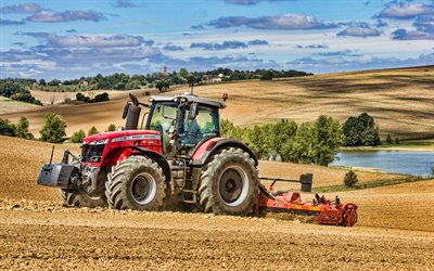 4k, Massey Ferguson 8735 S, plowing field, HDR, 2021 tractors, agricultural machinery, red tractor, agriculture, Massey Ferguson