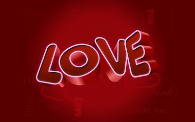 3d word love, red background, 3d love background, 3d letters, love concepts, love background