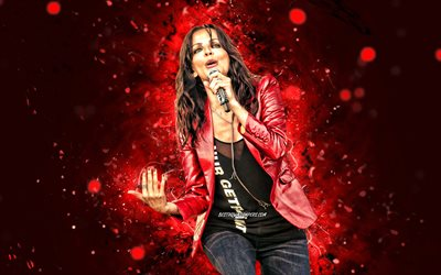 Nena, 4k, german singer, music stars, red neon lights, german celebrity, Nena with microphone, Gabriele Susanne Kerner, Nena 4K