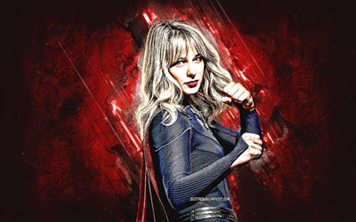Supergirl, superhero, Melissa Marie Benoist, portrait, Supergirl art, red stone background
