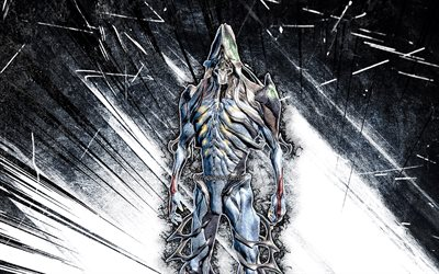 4k, Nekros, grunge art, Warframe, RPG, Warframe characters, Nekros Build, gray abstract rays, Warframe Builds, Nekros Warframe