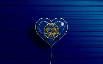 I Love Nebraska, 4k, realistic balloons, blue wooden background, United States of America, Nebraska flag heart, flag of Nebraska, balloon with flag, American states, Love Nebraska, USA
