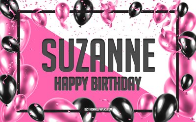 Happy Birthday Suzanne, Birthday Balloons Background, Suzanne, wallpapers with names, Suzanne Happy Birthday, Pink Balloons Birthday Background, greeting card, Suzanne Birthday