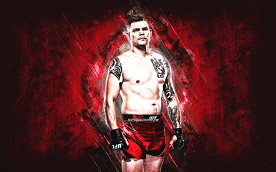 Chase Sherman, MMA, UFC, American fighter, red stone background, Chase Sherman art, Ultimate Fighting Championship