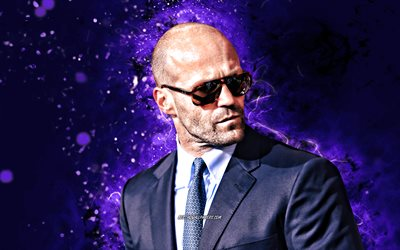 Jason Statham, 4k, violet neon lights, english actor, movie stars, Jason Michael Statham, Hollywood, creative, Jason Statham 4K