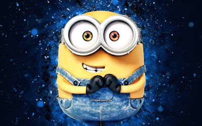 Bob, 4k, blue neon lights, Bob the Minion, Minions The Rise of Gru, fan art, Despicable Me, Minions, Bob Minions