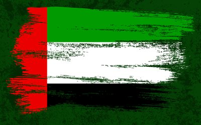 4k, Flag of United Arab Emirates, grunge flags, Asian countries, national symbols, brush stroke, UAE flag, grunge art, United Arab Emirates flag, Asia, flag of UAE, United Arab Emirates, UAE