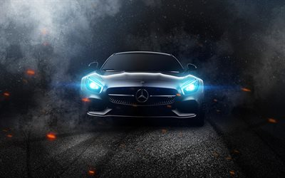 darkness, Mercedes-AMG GT, headlights, 2017 cars, supercars, AMG, Mercedes