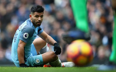 4k, Sergio Aguero, football stars, Man City, ball, Manchester City, Premier League