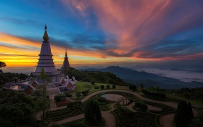 Bangkok, temple, national park, sunset, Asia, Thailand