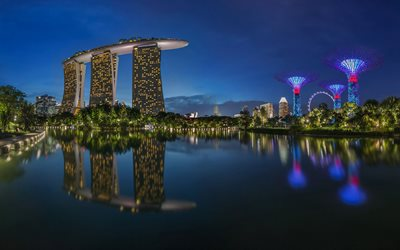 Marina Bay Sands, 4k, Singapore at night, nightscapes, hotels, skyscrapers, Singapore, modern buildings, Asia, Singapore 4K