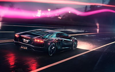 Download Wallpapers Night Lamborghini Aventador