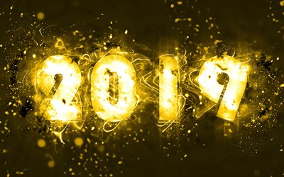 4k, 2019 year, creative, yellow neon, abstract art, 2019 concepts, yellow background, Happy New Year 2019