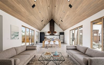 modern interior of a country house, stylish interior design, light interior, wooden ceiling