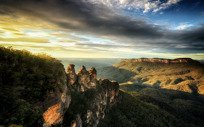 Blue Mountain, New South Wales, sunrise, mountain valley, forest, mountains, Australia