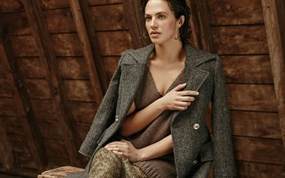 Jessica Brown-Findlay, British actress, beautiful woman, knitted sweater, portrait