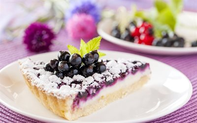 Pie with berries, cheesecake, cake, currant, dessert, cake with currant