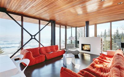 modern stylish living room design, Scandinavian style, red sofas, fireplace in the living room, stylish interior