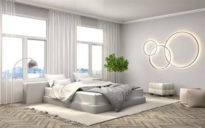 modern interior design bedroom, stylish bedroom, gray style, minimalism, gray color in the bedroom, large bed
