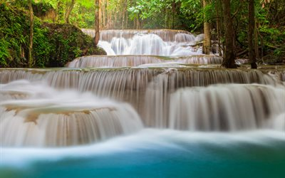 tropical forest, waterfall, river, rapids, jungle, Thailand, tourism