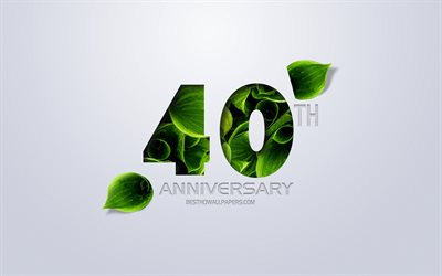 40th Anniversary sign, creative art, 40 Anniversary, green leaves, greeting card, 40 Years symbol, eco concepts, 40th Anniversary