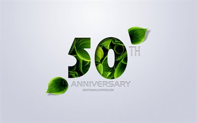 50th Anniversary sign, creative art, 50 Anniversary, green leaves, greeting card, 50 Years symbol, eco concepts, 50th Anniversary