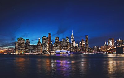 4k, Manhattan, nightscapes, american cities, NYC, skyscrapers, New York, Manhattan at night, USA, Cities of New York, America, New York City
