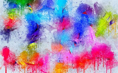 colorful paint spots, grunge, artwork, colorful paint splashes, creative, grunge backgrounds