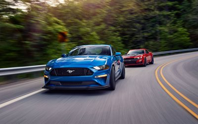 Ford Mustang GT, Chevrolet Camaro SS, 2019, luxury sports cars, new blue Mustang, new red Camaro, American sports cars, Ford, Chevrolet