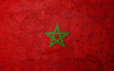 Flag of Morocco, concrete texture, stone background, Morocco flag, Africa, Morocco, flags on stone