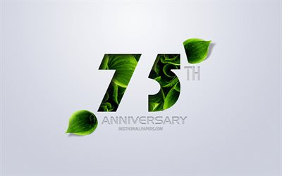 75th Anniversary sign, creative art, 75 Anniversary, green leaves, greeting card, 75 Years symbol, eco concepts, 75th Anniversary