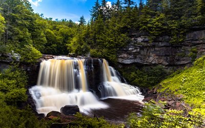 mountain waterfall, mountain river, forest, green trees, waterfalls, environment, West Virginia, USA