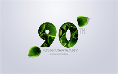 90th Anniversary sign, creative art, 90 Anniversary, green leaves, greeting card, 90 Years symbol, eco concepts, 90th Anniversary